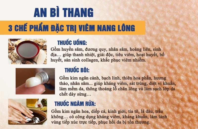 Các chế phẩm chính trong điều trị viêm nang lông của bài thuốc An Bì Thang
