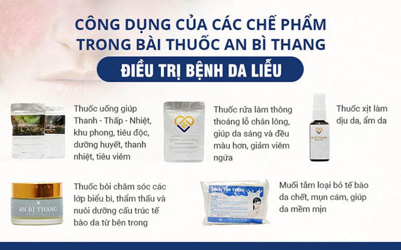 Các chế phẩm trong bài thuốc An Bì Thang trị viêm nang lông đều được bổ sung những dược liệu phù hợp, cải thiện cả sức khỏe và làn da