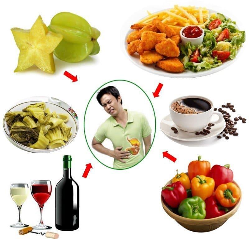 Đồ ăn chua khiến cơn đau xuất hiện dữ dội hơn do axit có trong đồ chua kích ứng với thành dạ dày