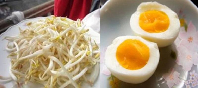 Trứng gà và giá đỗ chần trị yếu sinh lý