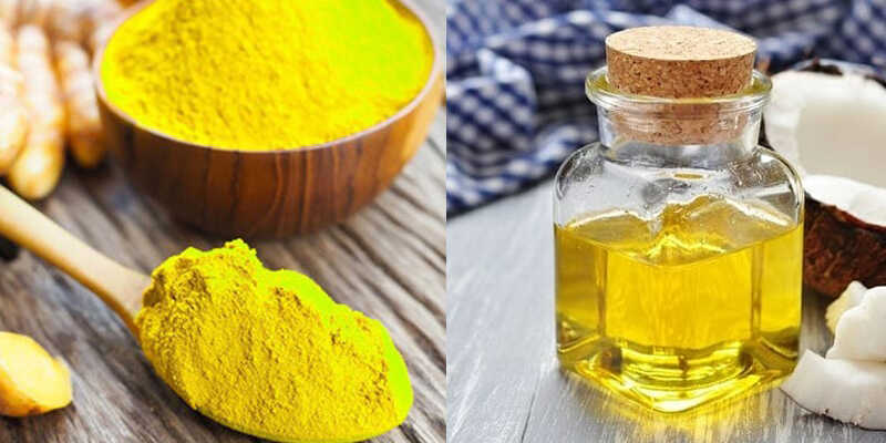 Mẹo dân gian kết hợp tinh bột nghệ và dầu dừa giúp giảm thiểu mụn ở da đầu