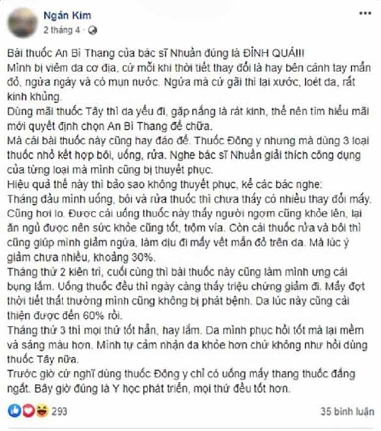 Chia sẻ chân thật của bệnh nhân Ngân Kim