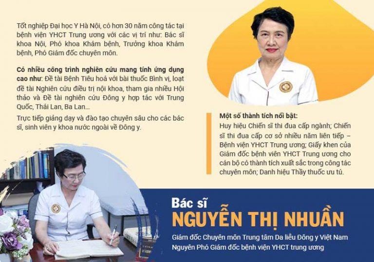 Bác sĩ Nguyễn Thị Nhuần có hơn 40 năm kinh nghiệm điều trị da liễu bằng YHCT