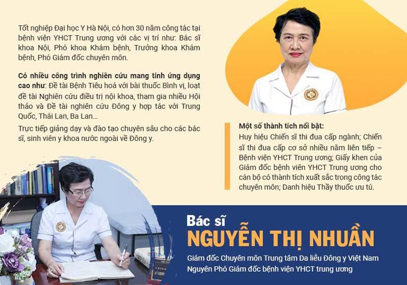 Bác sĩ Nguyễn Thị Nhuần với hơn 40 năm kinh nghiệm trong điều trị bệnh da liễu