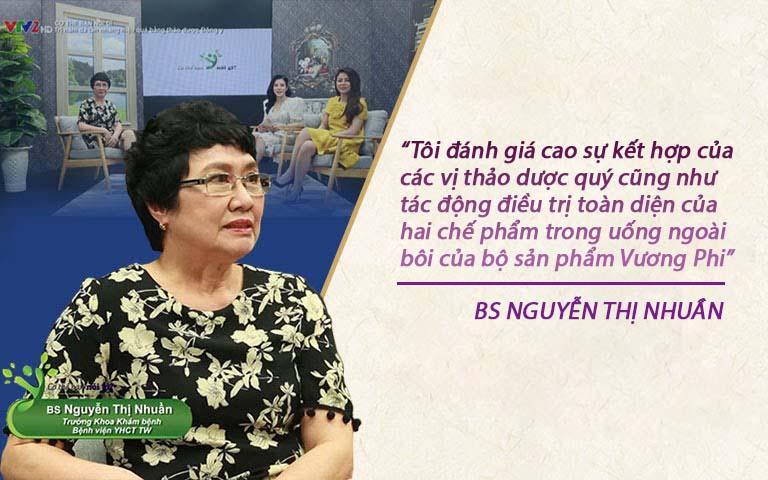 Bác sĩ Nguyễn Thị Nhuần đưa ra đánh giá về bộ sản phẩm Vương Phi trên VTV2
