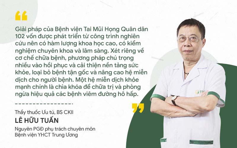 Bác sĩ Tuấn nhận xét giải pháp chữa viêm amidan Quân dân 102