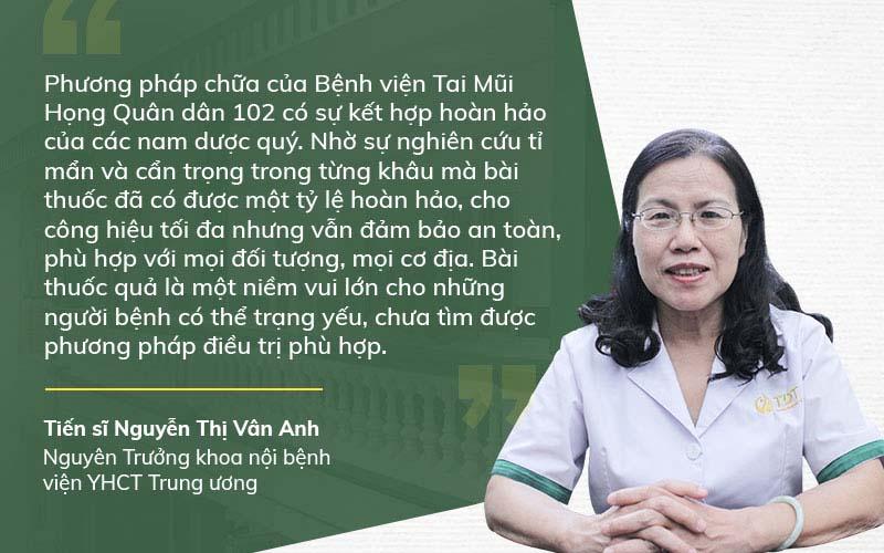 Bác sĩ Vân Anh nhận xét giải pháp chữa viêm amidan Quân dân 102