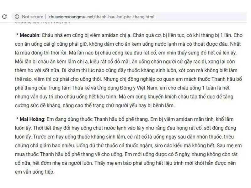 Feedback Thanh Hầu Bổ Phế Thang chữa viêm amidan