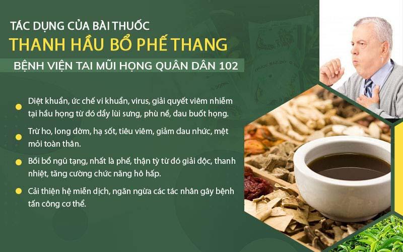 Tác dụng bài thuốc Thanh Hầu Bổ Phế Thang
