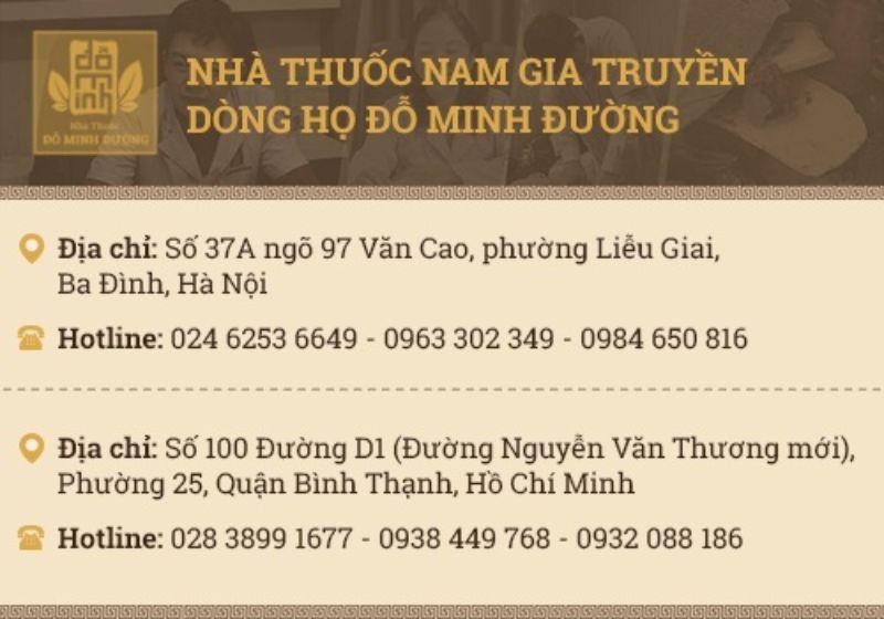 Thông tin liên hệ nhà thuốc Đỗ Minh Đường
