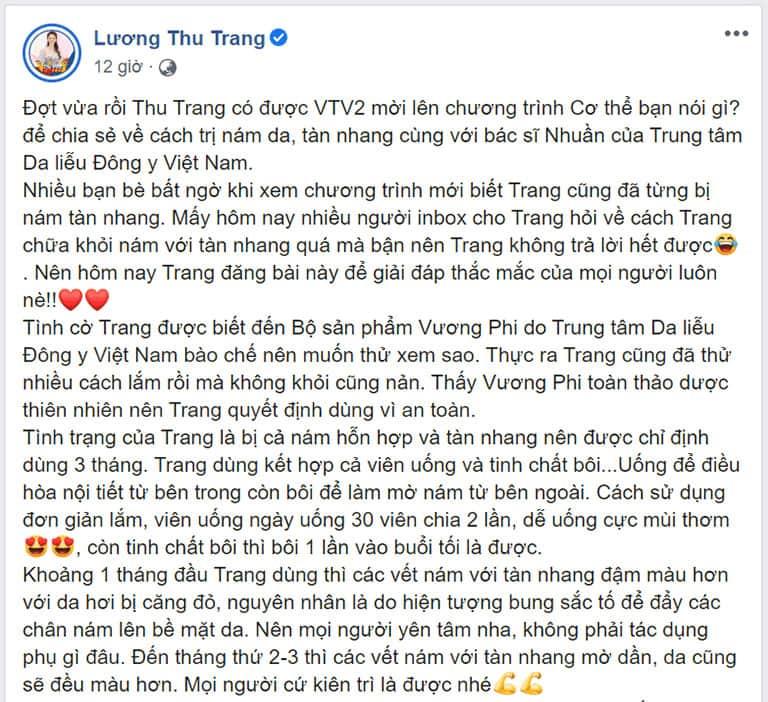 Chia sẻ của diễn viên Lương Thu Trang về bộ sản phẩm nám da, tàn nhang Vương Phi
