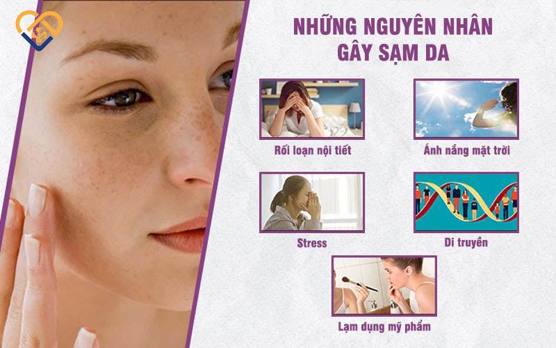 Có nhiều nguyên nhân gây sạm da mặt và sạm da toàn thân