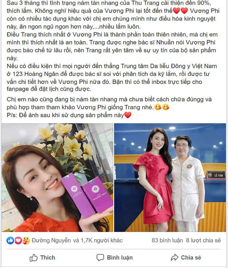 Những chia sẻ chân thực của diễn viên Thu Trang về Bộ sản phẩm Vương Phi trên trang facebook cá nhân của mình
