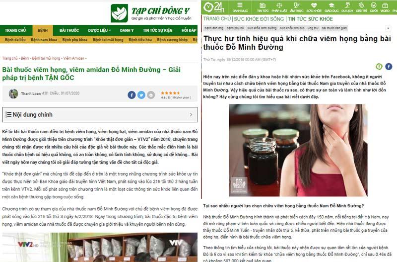 Bài thuốc viêm họng dòng họ Đỗ Minh được nhiều trang báo đưa tin