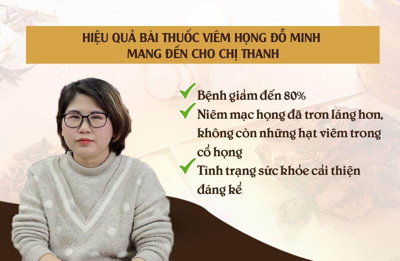Hiệu quả bài thuốc viêm họng Đỗ Minh đem đến cho chị Thanh