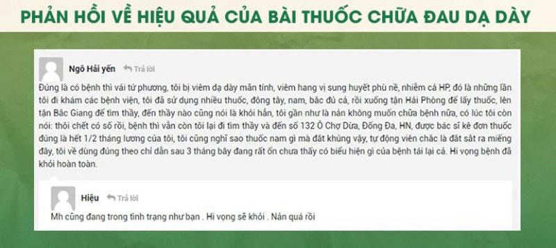 Bạn Ngô Hải Yến chia sẻ về phương pháp chữa đau dạ dày của Thuốc dân tộc
