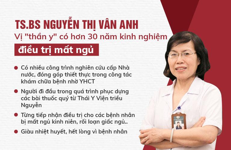 TS.BS Nguyễn Thị Vân Anh người có hơn 30 năm kinh nghiệm điều trị mất ngủ