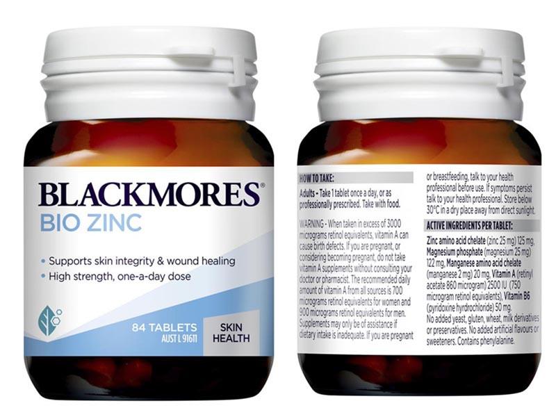 Các dưỡng chất trong viên uống Blackmores Bio Zinc