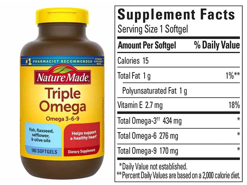 Thành phần của Triple Omega 3-6-9 Nature Made