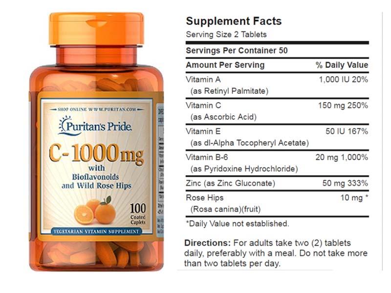 Vitamin C Puritan's Pride có thành phần thiên nhiên