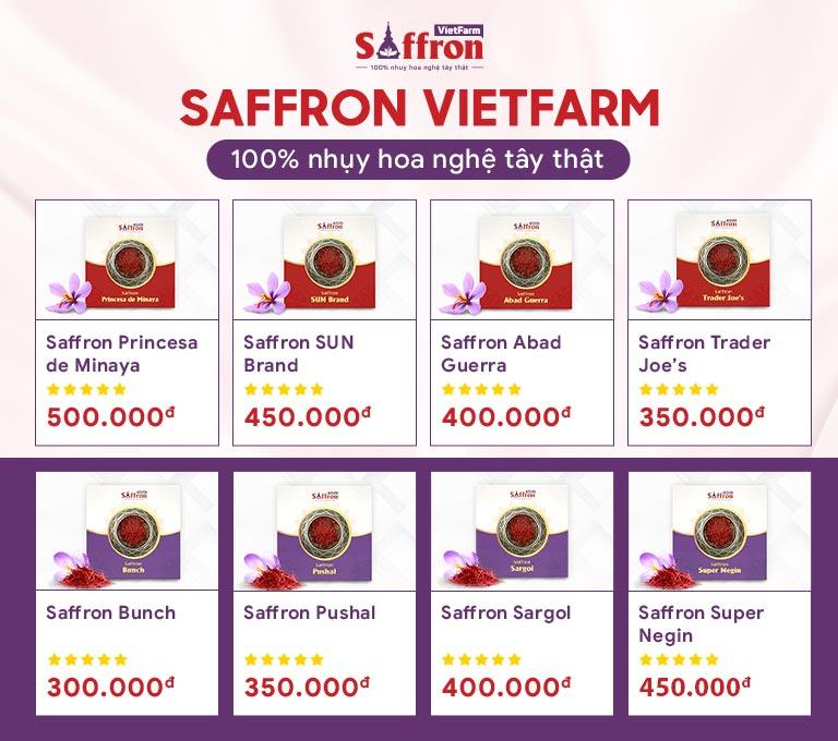 Saffron Vietfarm phân phối 8 loại nhụy hoa nghệ tây cao cấp từ Iran và Tây Ban Nha