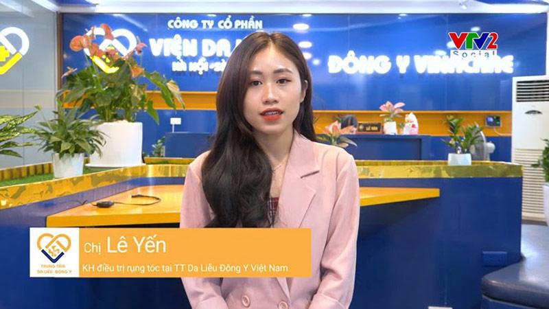 Mái tóc của khách hàng Lê Yến đã cải thiện rất tốt sau khi áp dụng giải pháp kết hợp của Viện Da liễu Hà Nội - Sài Gòn