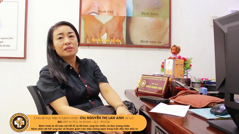 Tình trạng rụng tóc của chị Lan Anh đã được khắc phục nhờ sử dụng giải pháp của Viện Da liễu Hà Nội - Sài Gòn